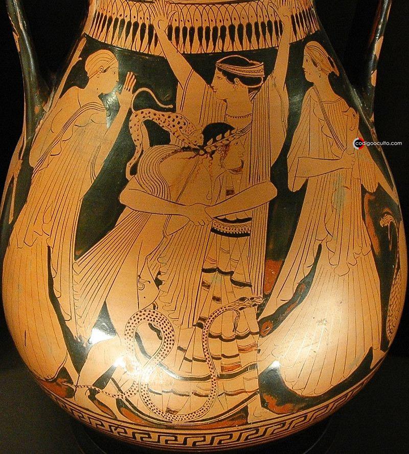 Tetis y Peleo. Lado A de una pelike ática de figuras rojas, ca. 460 a. C., hallada en Bomarzo