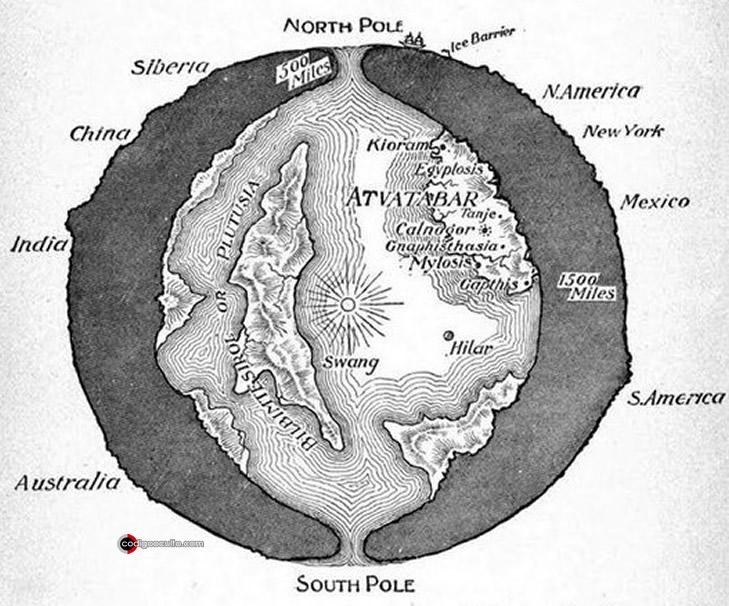 """Dibujo transversal de la Tierra que muestra el """"Mundo Interior"""" de Atvatabar, de la novela de ciencia ficción de 1892 de William R. Bradshaw La Diosa de Atvatabar"""