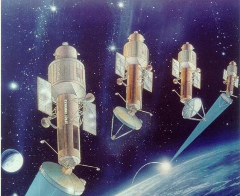 Representación de armas antisatélite de energía dirigida futuristas