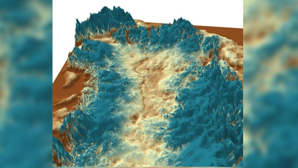 Vista 3D del cañón subglacial, mirando al noroeste desde el centro de Groenlandia