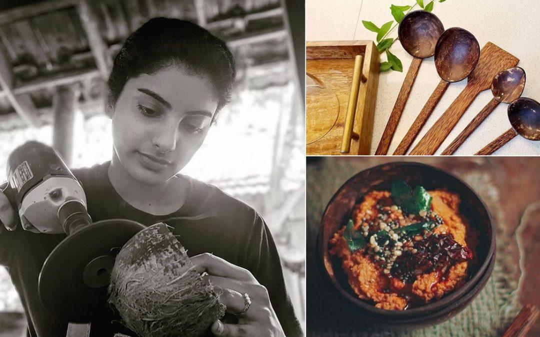 Ella recicla cáscaras de coco y fabrica vajillas y utensilios ecológicos de alta calidad