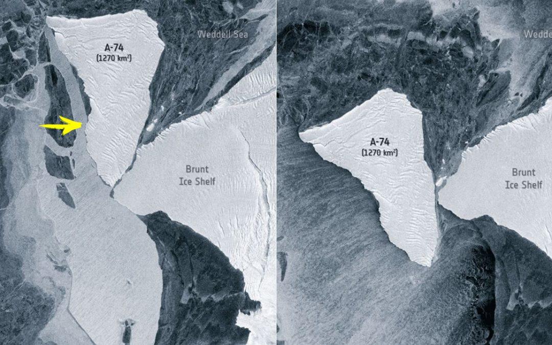 Enorme iceberg de 1.270 kilómetros cuadrados casi colisiona contra la Antártida