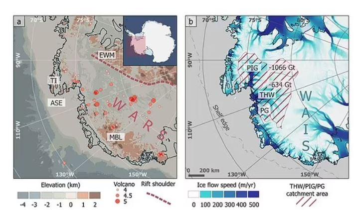 """Esto provoca un """"flujo de calor geotérmico de hasta 150 milivatios por metro cuadrado"""" y un calentamiento adicional en el glaciar"""