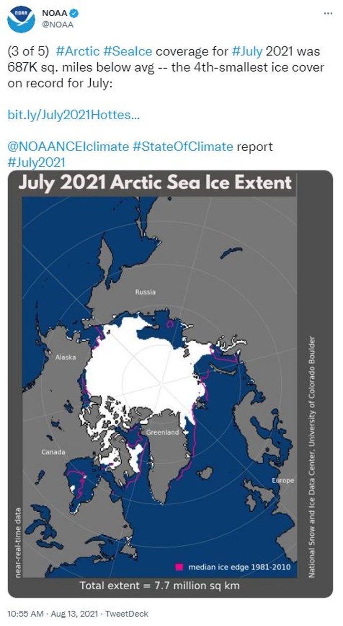 El hielo marino en el Océano Ártico fue la cuarta área de cobertura más pequeña en 43 años de análisis, dijo la NOAA el viernes