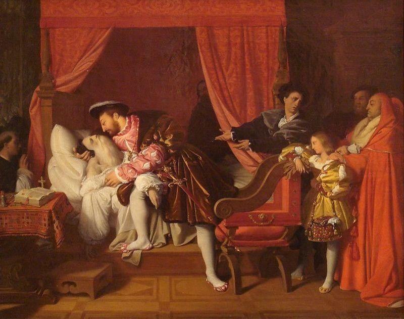 La muerte de Leonardo, de Jean-Auguste-Dominique Ingres (1818)