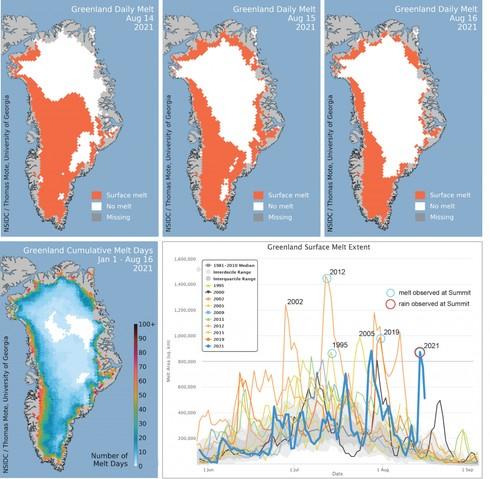 Extensión diaria del derretimiento del hielo en la capa de hielo de Groenlandia durante el derretimiento de la semana pasada