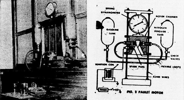 Diseño del motor pensado por Paulet que años después serviría para realizar vuelos espaciales