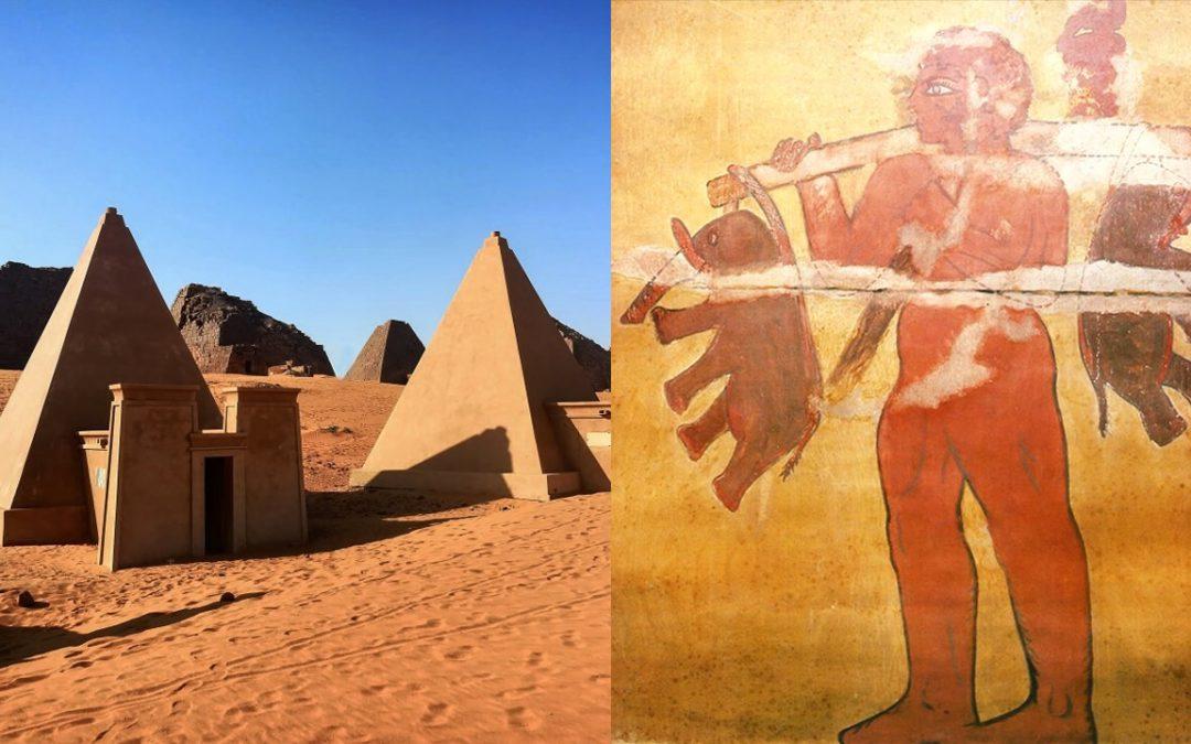 """Antiguo mural en pirámides de Nubia muestra un """"Gigante"""" cargando dos elefantes"""