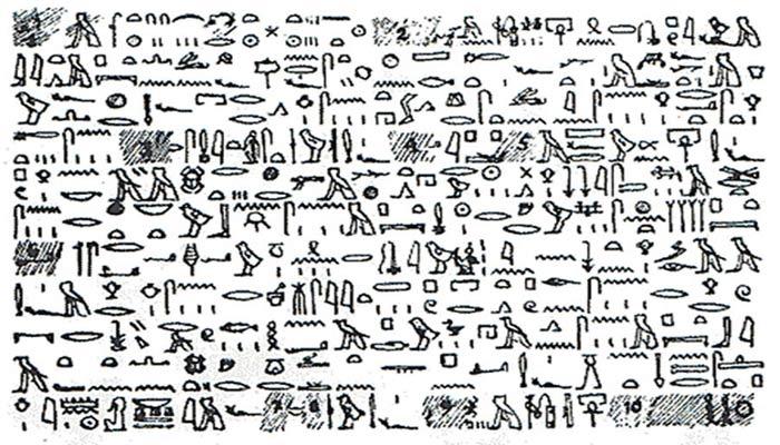 Traducción del Papiro de Tullo en lenguaje jeroglífico