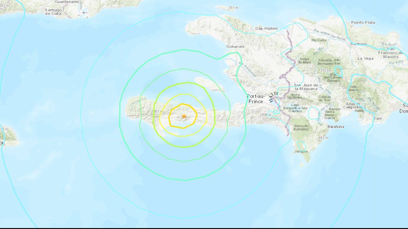 Mapa del USGS del sismo en Haití