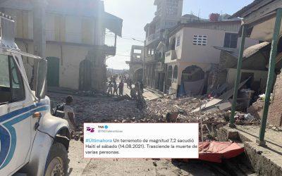 Terremoto de 7.2 en Haití causa destrucción y se estima gran número de víctimas