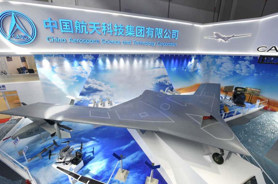 Una maqueta del CASC CH-7 UCAV en el Salón Aeronáutico de Zhuhai 2018