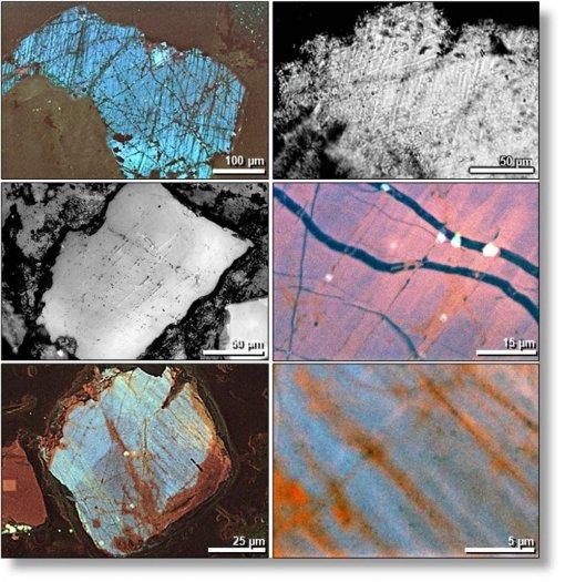 Imágenes de microscopio electrónico de numerosas pequeñas grietas en granos de cuarzo impactados
