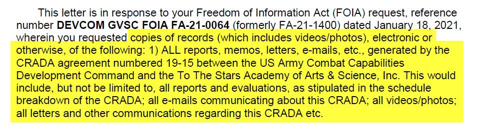 La carta de respuesta de FOIA a The Black Vault describió el alcance completo de la solicitud