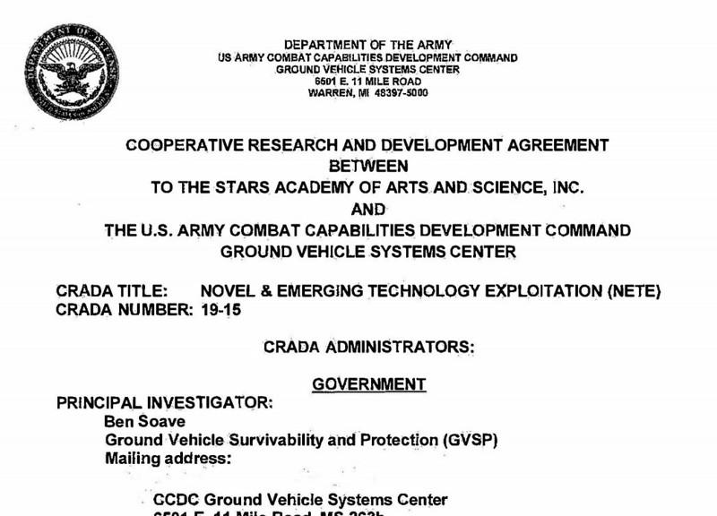 Parte de la portada del CRADA que TTSA firmó con el Ejército de EE. UU.