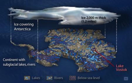 Montañas y ríos subterráneos debajo de la gruesa capa de hielo de la Antártida