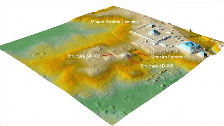 Un análisis LiDAR reciente reveló que un área que alguna vez se asumió como colinas naturales, en el centro, cerca del complejo del Mundo Perdido de Tikal, a la derecha, es en realidad una ciudadela en ruinas de 1.800 años de antigüedad