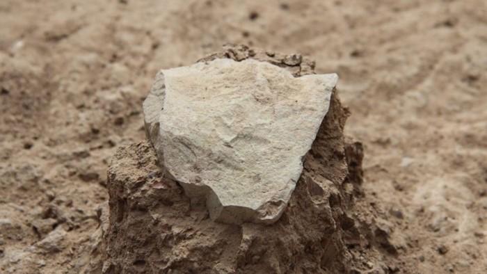 Una herramienta de piedra desenterrada en el sitio de excavación Lomekwi 3 junto al lago Turkana en Kenia