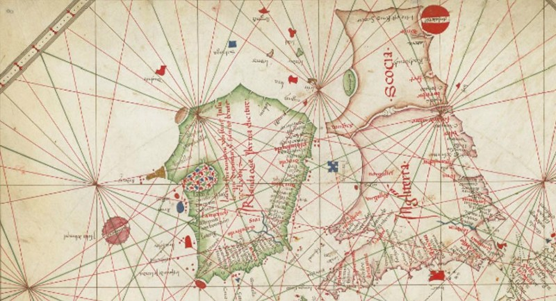 Carta Náutica de Europa Occidental, de 1473, muestra a Hy-Brasil con forma circular