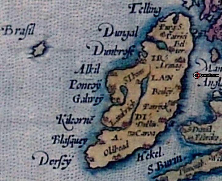 Hy-Brasil (aquí se muestra como Brasil), detallada en el Mapa de Europa de Ortelius