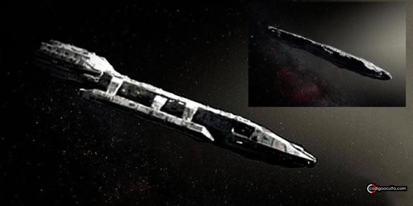 """Representación artística de Oumuamua como una """"nave espacial""""."""