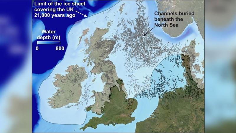 Un mapa del Mar del Norte que muestra la distribución de canales enterrados (valles de túneles) que han sido mapeados previamente utilizando tecnología de reflexión sísmica 3D