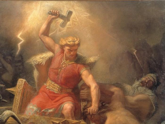 La batalla de Thor contra los gigantes, de Mårten Eskil Winge, 1872