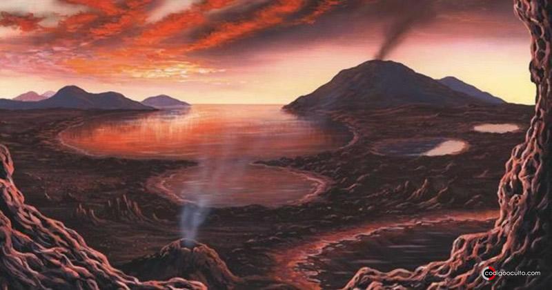 Representación artística de una Tierra primordial