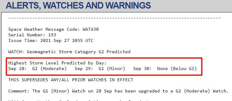 Predicción de tormenta geomagnética para 28, 29 y 30 de septiembre