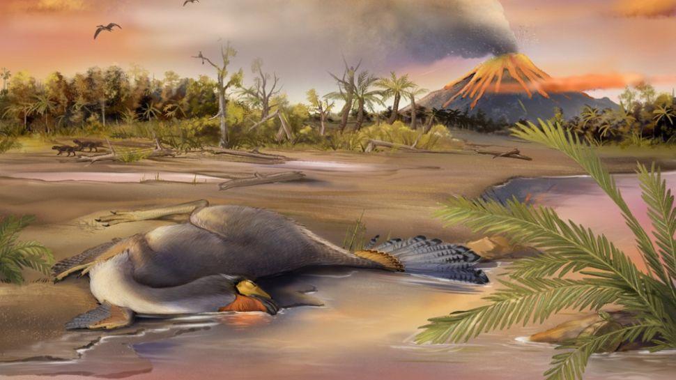 Reconstrucción artística muestra un espécimen de Caudipteryx