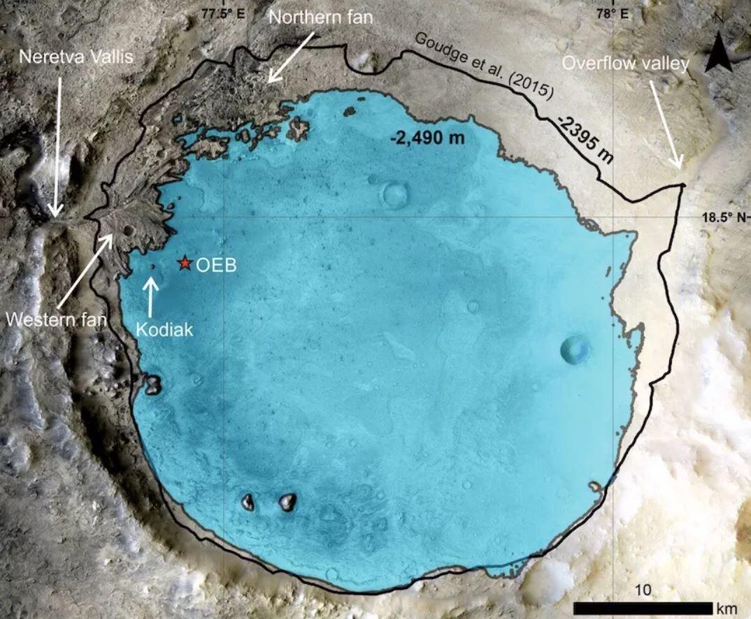 El enorme cráter Jezero en Marte fue un antiguo lago, según han confirmado los datos recopilados por el rover Perseverance