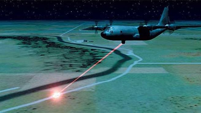 Representación en un avión equipado con arma láser