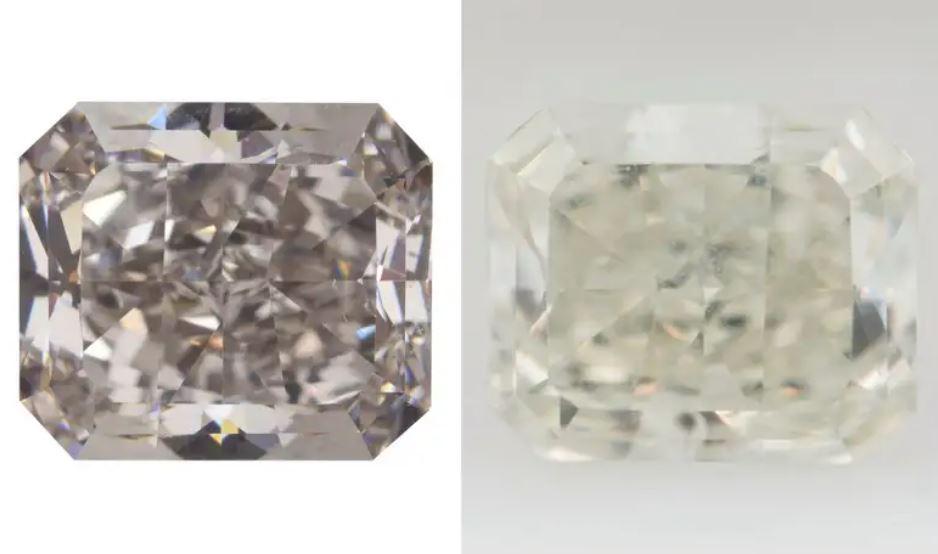Algunos diamantes cambian de gris (izquierda) a amarillo (derecha) cuando se sumergen en nitrógeno líquido