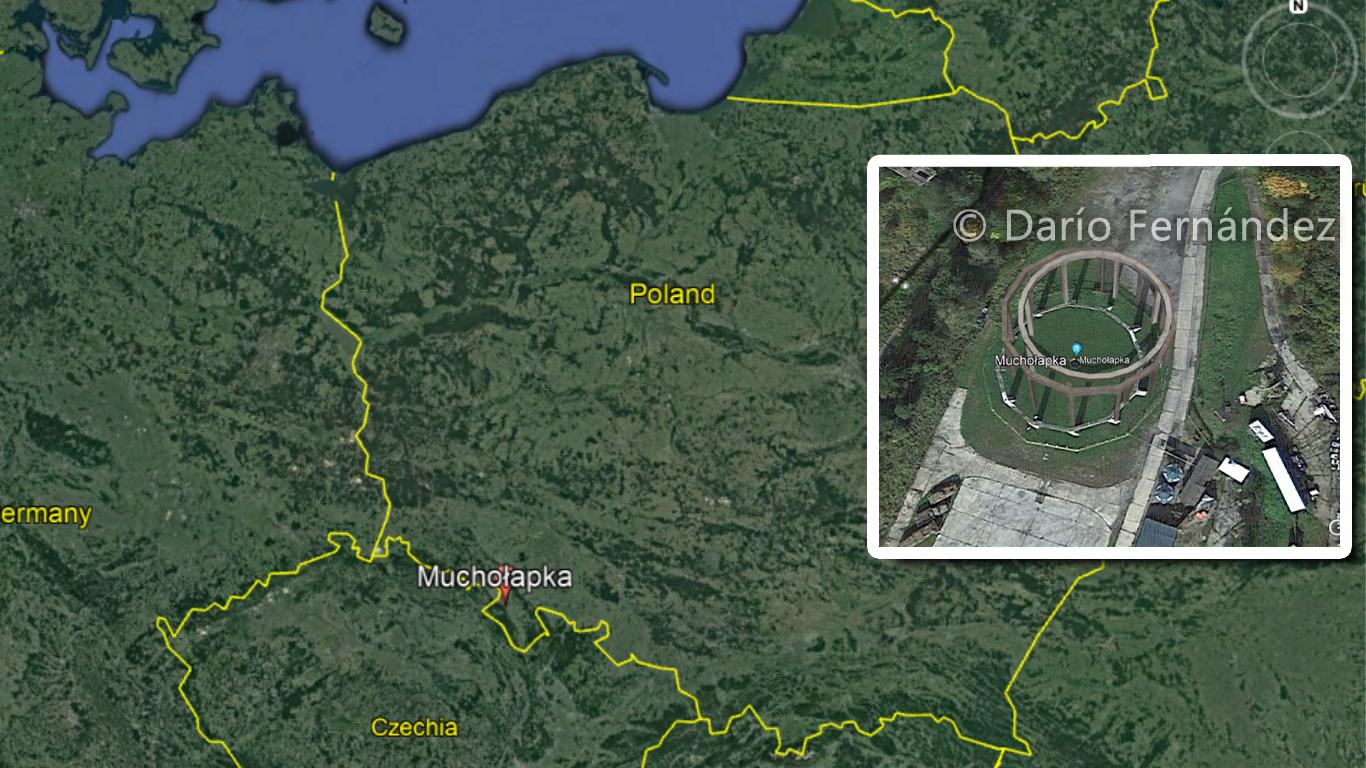 """Ubicación de """"The Henge"""" o Muchołapka, en la frontera de Polonia y la republica Checa, tal y como se ve en Google Earth. Crédito: Google Earth / Darío Fernández"""
