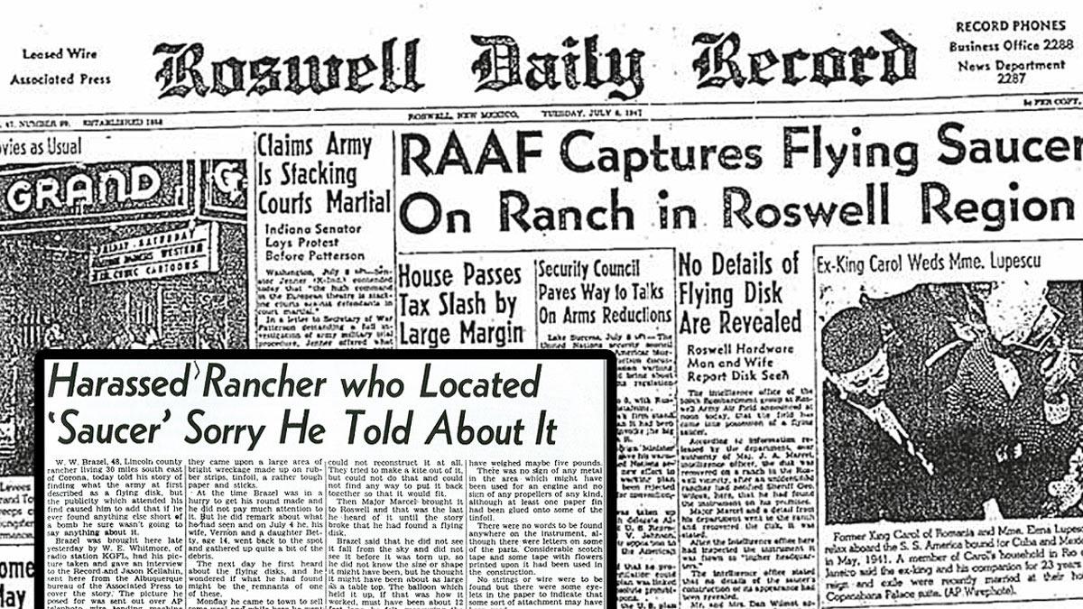 "Portada del ""Roswell Daily Record"" anunciando el Incidente de Roswell"