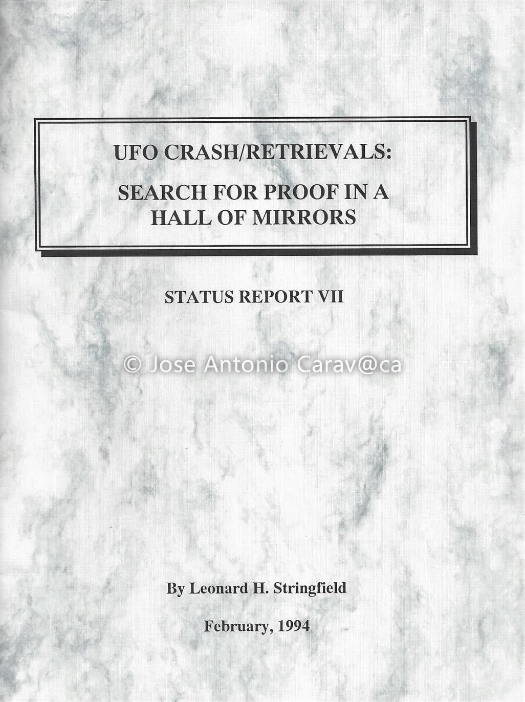 "Portada de informe ""UFO Crash/Retrieval Status Report VII: Search for Proof in a Hall of Mirrors"""