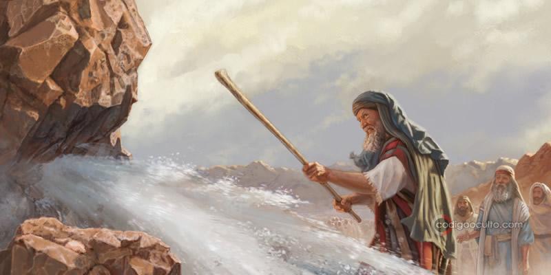 En la Biblia en el Antiguo Testamento, Moisés parte una roca y brota agua