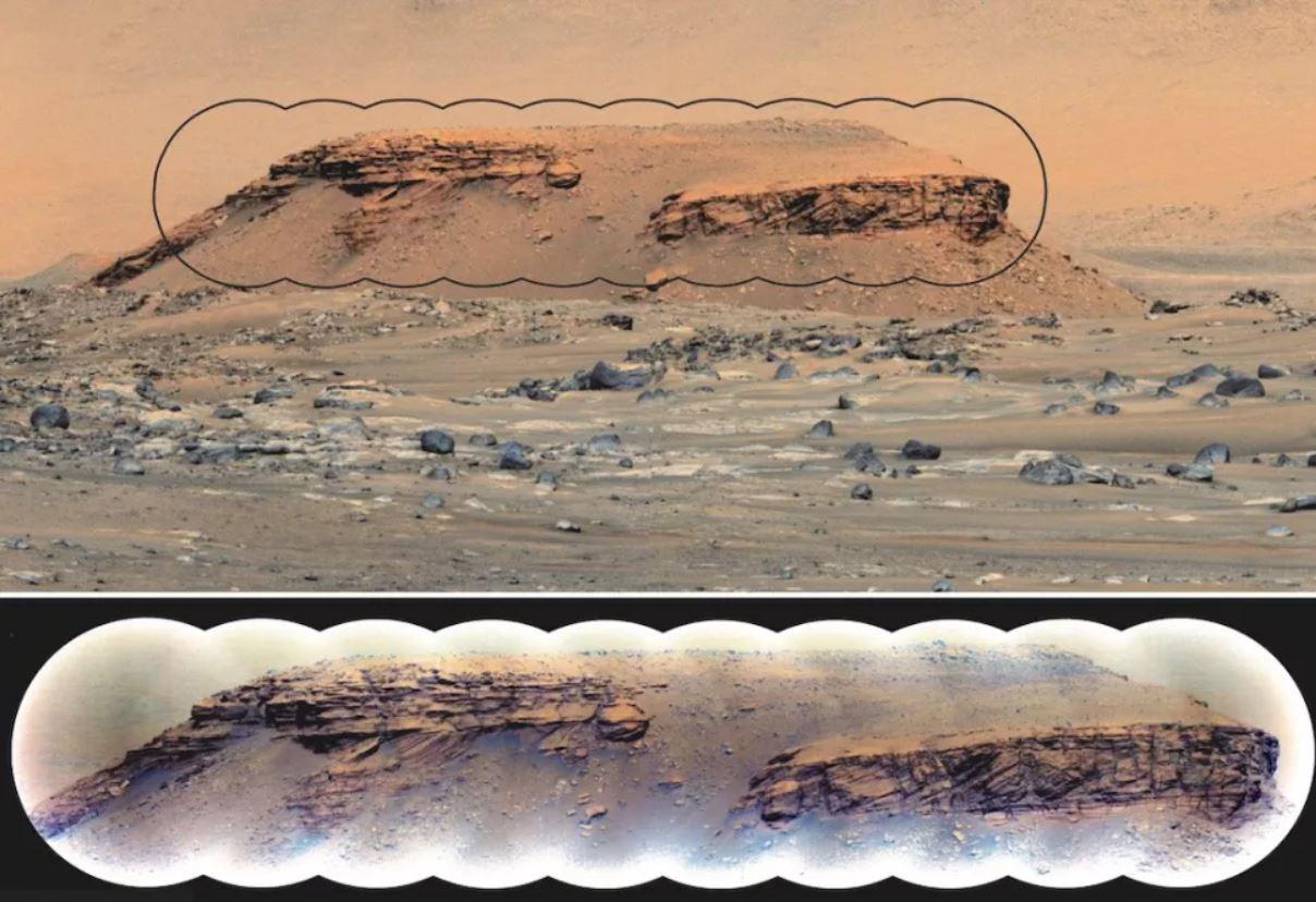 Capas de rocas sedimentarias en la colina Kodiak, dentro del cráter Jezero de Marte. La imagen superior muestra una foto tomada por la cámara Mastcam-Z del rover Perseverance desde una distancia de aproximadamente 2.24 kilómetros. La imagen inferior muestra un mosaico de imágenes microscópicas remotas SuperCam que muestra lechos inclinados distintivos intercalados entre lechos horizontales que son signos reveladores de deposición en un entorno delta